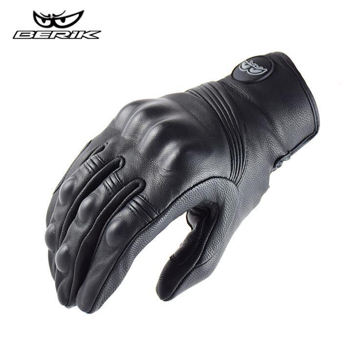 Gants de moto,BERIK – gants de Moto en cuir pour hommes, gants de course de Moto, vélo, Motocross, été, 100%