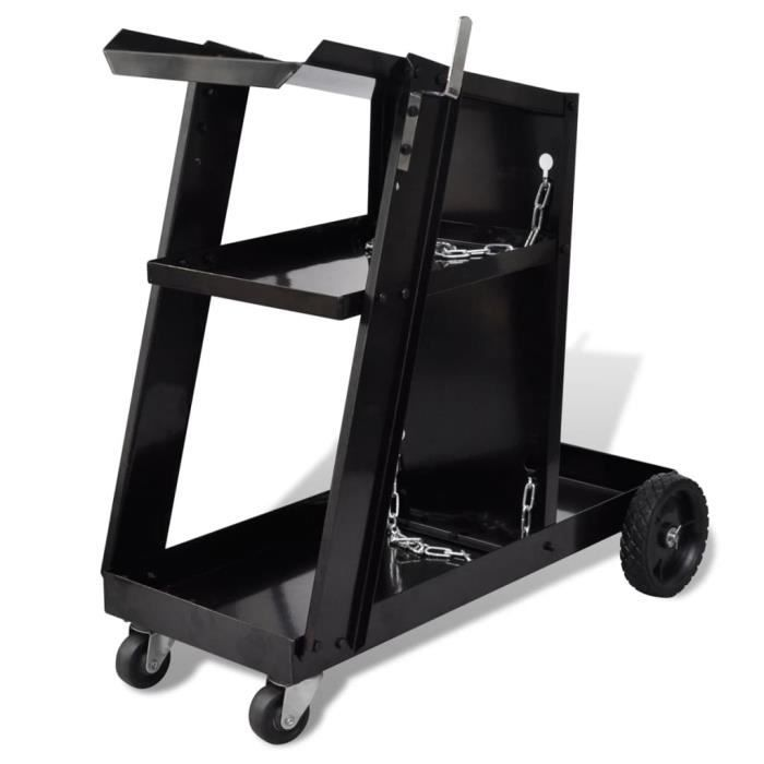 Chariot pour poste de soudure avec 3 étagères Chariot de transport Noir