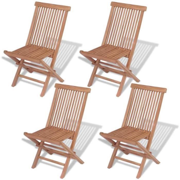 Chaise pliante d'extérieur 4 pièces Teck massif