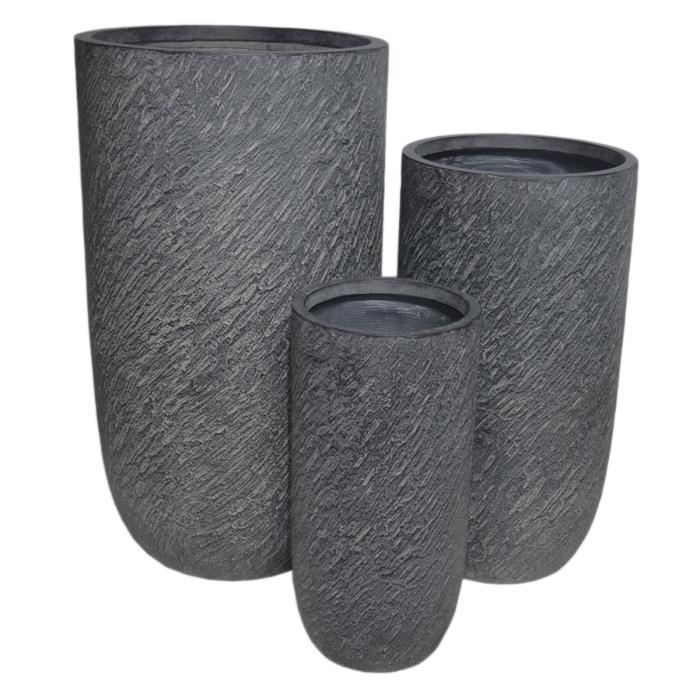 Lot de 3 bacs à fleur ronds coloris gris