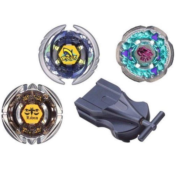 Coffret Rare : Trois toupies Officielles Beyblade Thermal Pisces ET Rock Aries ET Flame Libra - Set avec Lanceur Inclus !