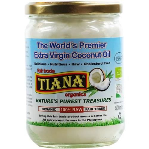 Tiana Raw bio pressée à froid huile de coco vierge 500ml