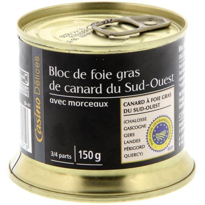 CASINO DELICES Bloc de foie gras de canard 30% - 150g