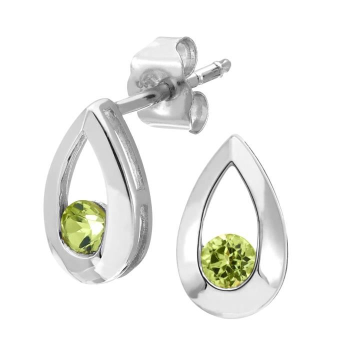 Pe01804w-pd - Boucles Doreilles Pendantes Femme - Or Blanc 9 Cts 0.6 Gr - Peridot ODA67