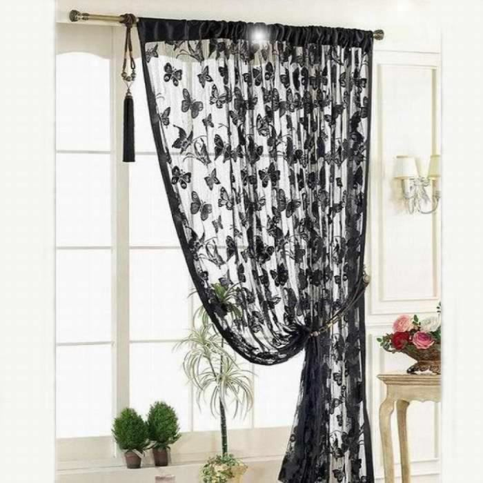 motif papillon panicule rideaux porte salle de fen tre barrette de s paration rideau 100 200cm. Black Bedroom Furniture Sets. Home Design Ideas