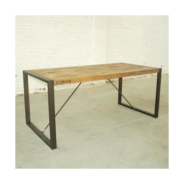 Table manger en teck recycl et m tal isis 222cm achat for Table a manger en teck