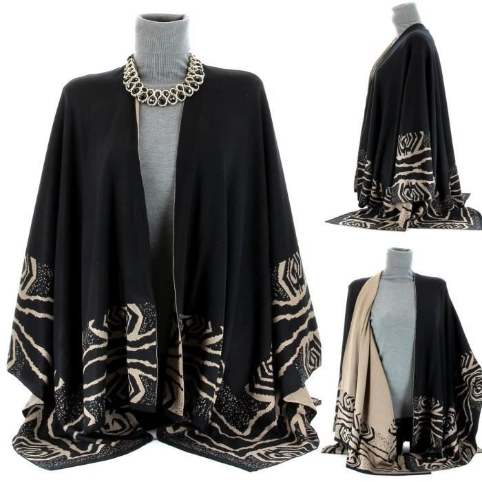 cape poncho manteau tricot marjorie femme noir achat vente manteau caban cdiscount. Black Bedroom Furniture Sets. Home Design Ideas
