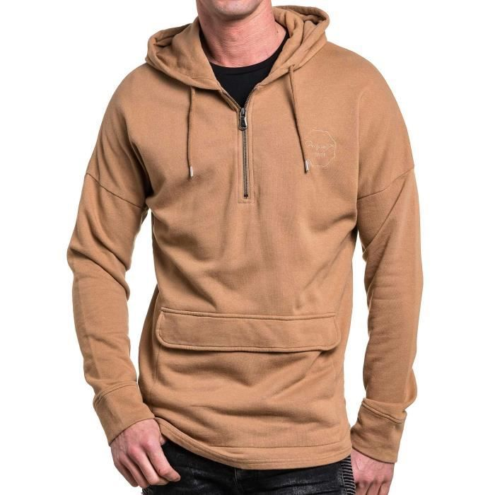 sweat a capuche homme beige