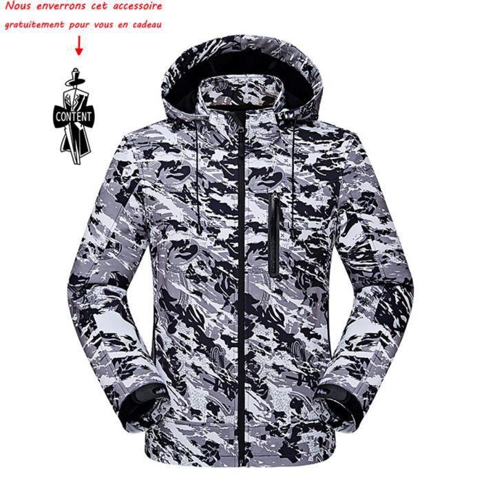 Blouson de ski Homme Veste de Ski avec Polaire Coupe Pluie Coupe Vent Imperméable Hiver camouflage de Marque Vêtement Masculin