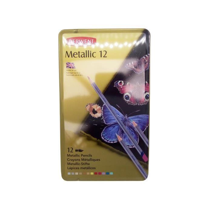 BOITE - MALLETTE PANDURO Boîte de 12 Crayons Metalliques Derwent -
