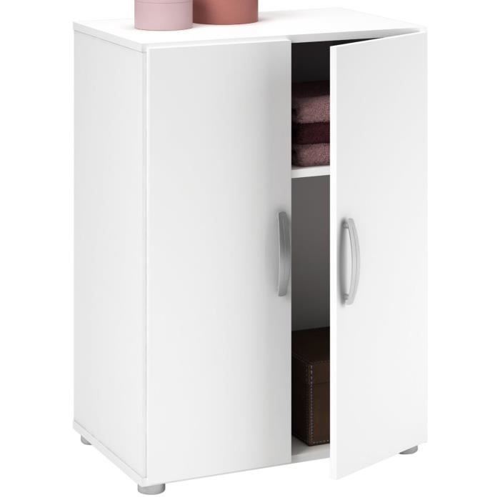 Armoire blanche multifonctions 2 portes 1 rayon l 58 x h - Armoire 2 portes blanche ...