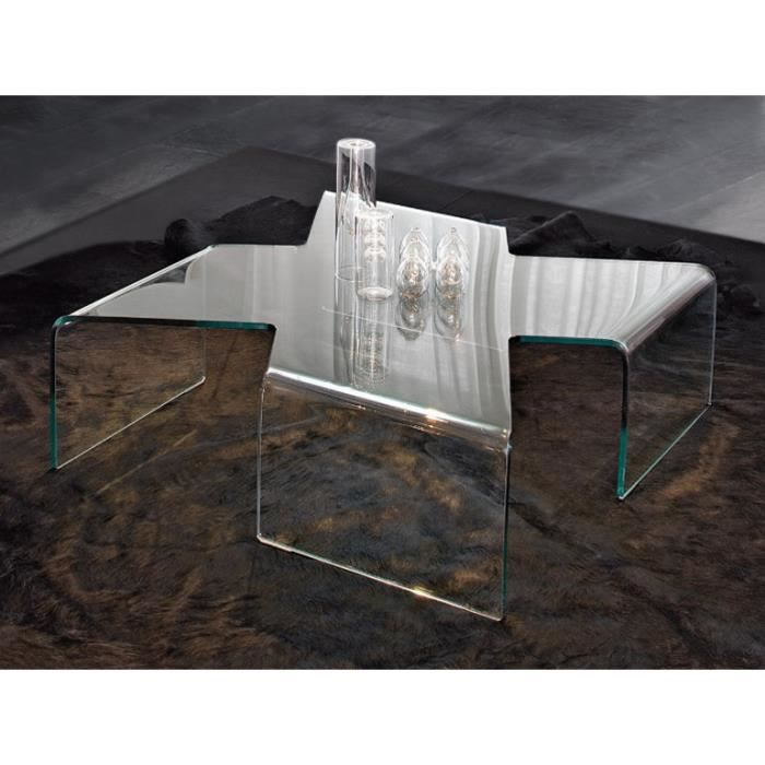 Table basse design cross en verre tremp transpare achat vente table bass - Table basse design en verre trempe ...