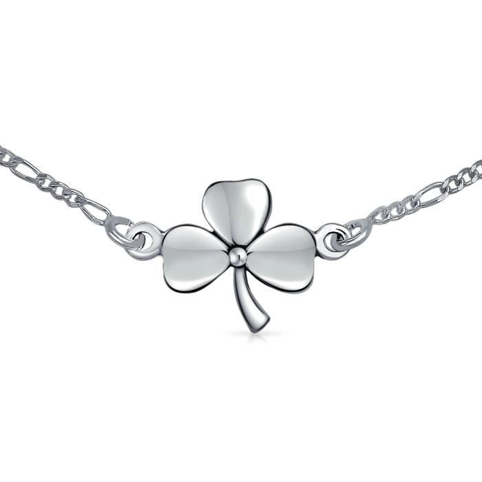 Bling Jewelry 925 Argent Sterling Shamrock trèfle cheville