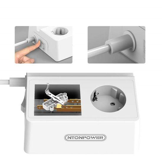 Montage Mural Interrupteur C/âble de 1,5 m avec Support Mural et Viss Protection pour Les Enfants Int/érieur NTONPOWER Multiprise Murale Noir Multiprises avec 3 Prises et 2 Ports USB