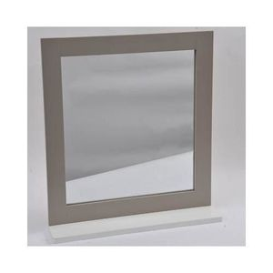 Decor miroir avec tablette coloris chene gris 31 for Miroir salon leroy merlin