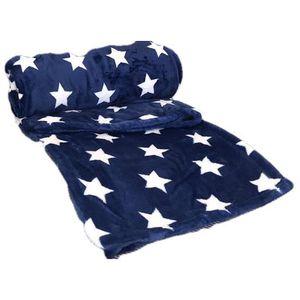COUVERTURE - PLAID Linder Plaid étoile Bleu 130cm x 180cm Très Confor