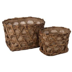 PANIER A LINGE Duo de Paniers Fibres/Tissu naturel - MANAMBO - L