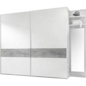 ARMOIRE DE CHAMBRE Armoire 2 portes coulissantes Blanc/Ciment - ANIEC