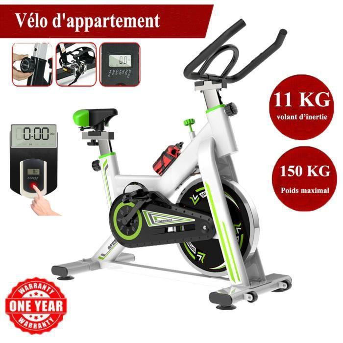 Vélo d'appartement biking entrainement - Inertie de 11 kg - Vélo d'Exercice Multifonction Capteur Fréquence Cardiaque - Blanc