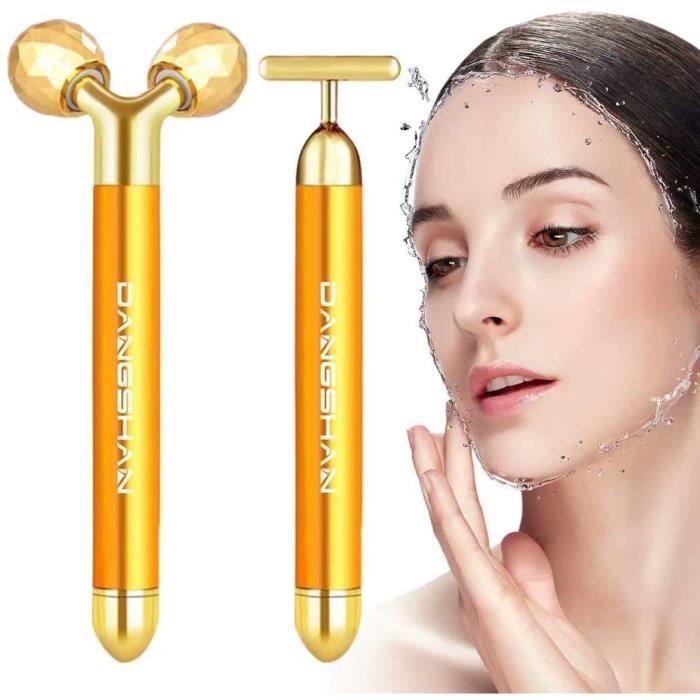 2-EN-1 Beauty Bar 24k Golden Pulse Massage Facial Visage Massager, 3D Roller Électrique Sonic Energy et T Shape Visage Masseur Arm E