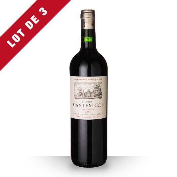 Lot de 3 - Château Cantemerle 2014 AOC Haut-Médoc - 3x75cl - Vin Rouge