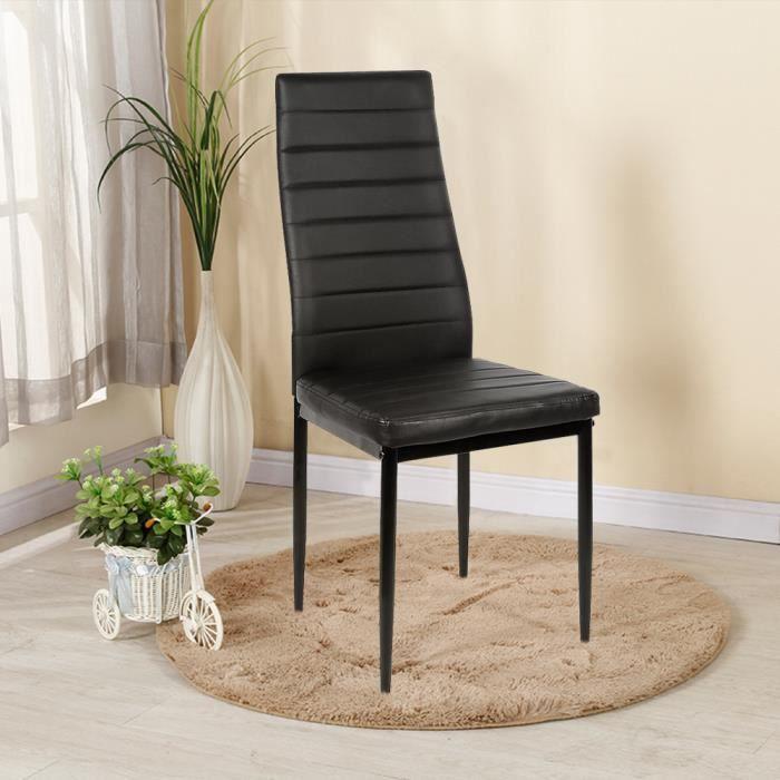 Lot de 4 chaises de salle à manger Design -Chaises de Salon Confort d'Assise très élevé - Cadre en Acier- Coloris : noir