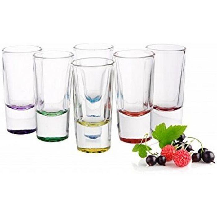 Original Shooter, Verres à Shot Mix Color - Vodka , Tequila - Lot de 6 - 25 ml