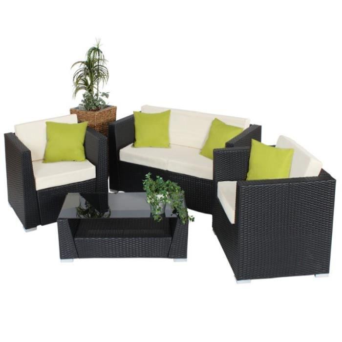 Salon de jardin rotin résine tressé synthétique noir + coussins + housses 2108013