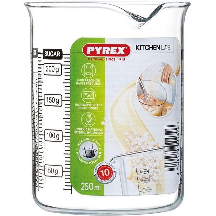 PYREX Verre doseur 0.25 L Kitchen Lab - 4 graduations