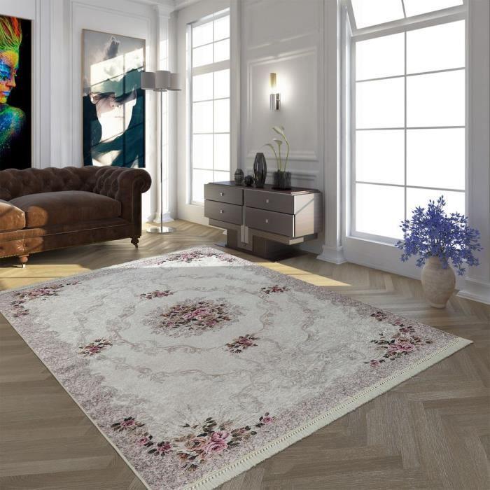 Tapis Moderne Avec Motif Oriental Imprimé Tendance Design Beige Crème Rose [80x300 cm]