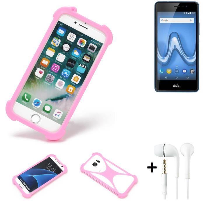 Pare-chocs + écouteurs pour Wiko Tommy 2 Plus Silicone Bumper téléphone portable protection rose, 1x 182587