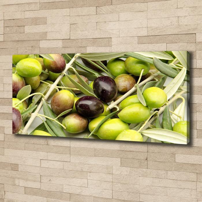 Tulup 125x50 cm art mural - Image sur toile:- Nourriture boissons - Olives Fraîches - Vert
