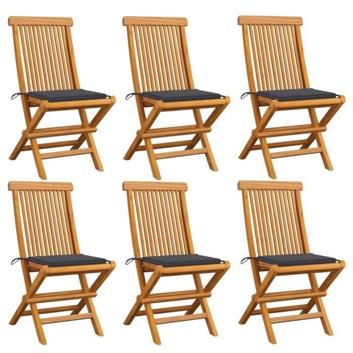 6 pcs Chaises de jardin avec coussins anthracite Bois de teck - Chaise d'extérieur ,Chaise de terrasse ,Fauteuil ®FVJVOP®