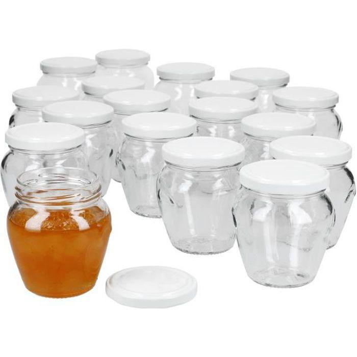 Lot de 18 pots de confiture 212 ml + couvercle à visser TO 63 blanc I pots de conservation à remplir de miel, confiture & gelée I