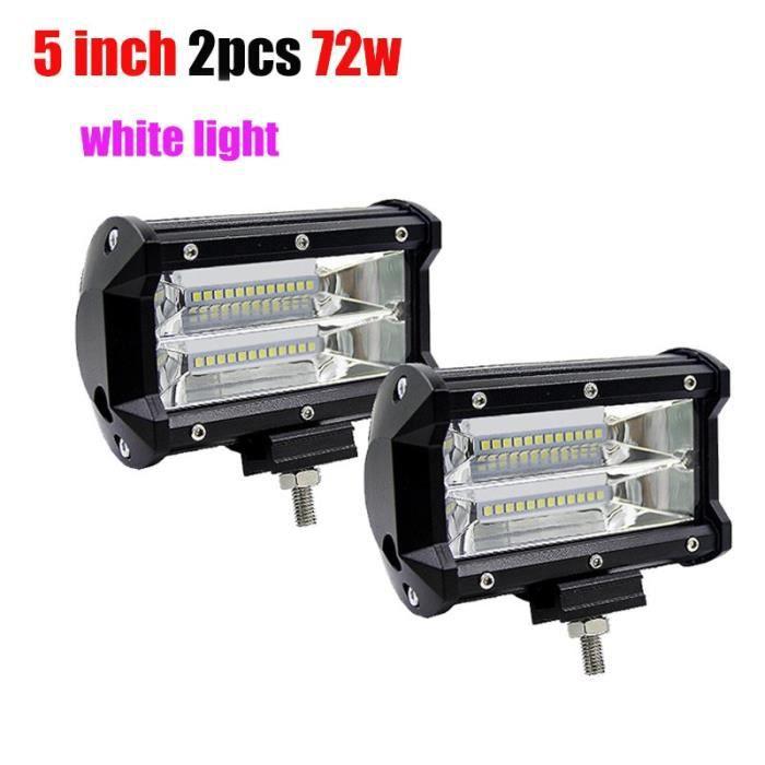 white light 72w -Barre de lumière antibrouillard Led, pour camion, SUV, ATV, 4x4, 4D, blanc, jaune, 12v, 24v, 5 pouces, 72W, tout te