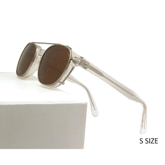 Lunettes de Soleil,Haute qualité cristal clair cadre lunettes hommes rond Transparent acétate lunettes de - Type S clear brown