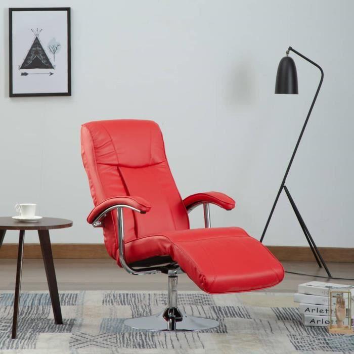 Economique -Fauteuil TV Relaxation Fauteuil de repose Scandinave - Chaises de Salon Rouge - Similicuir #42742