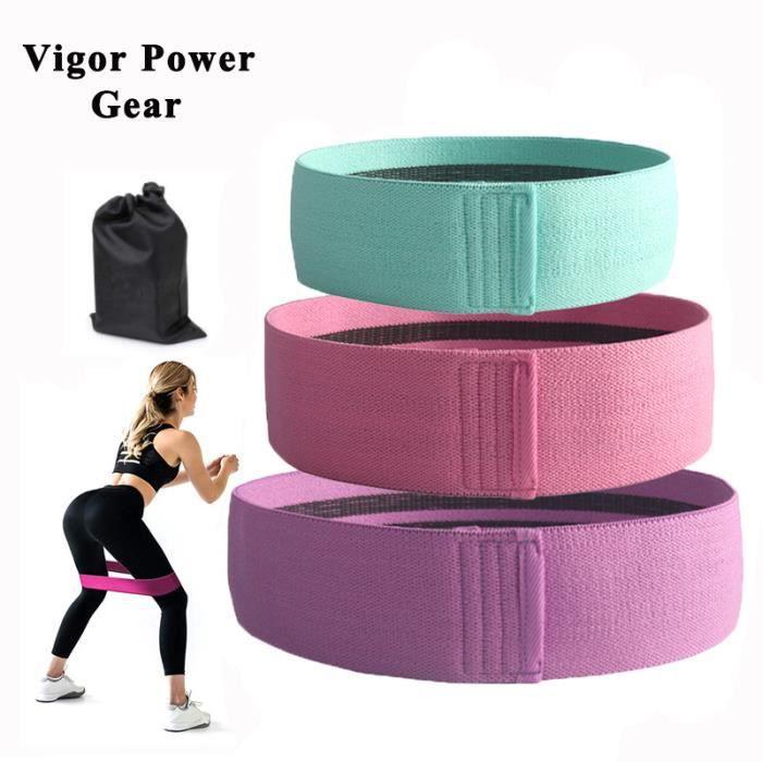 3pc Bandes de Résistance élastiques, Bande elastique musculation Fitness pour jambes et fesses antidérapantes anti-dérapant Yoga Gym