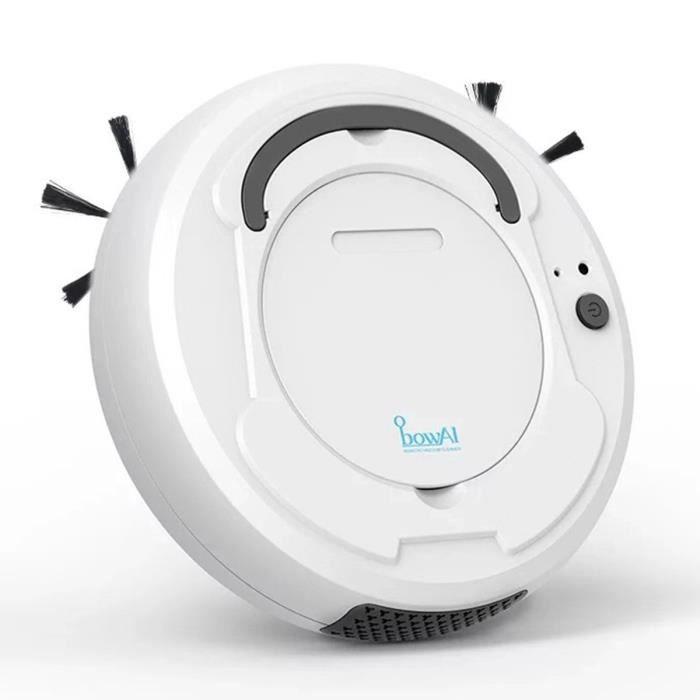 Aspirateur Robot Intelligent Nettoyeur Spécial pour Poils d'Animaux, Tapis d'aspiration puissants 1800Pa et tous types de sols Blanc