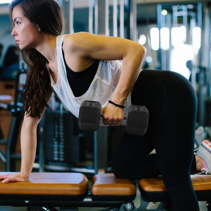 12,5 kg en caoutchouc hexagone exercice haltère gymnase à domicile entraînement équipement de remise en forme sans défilement -KOR
