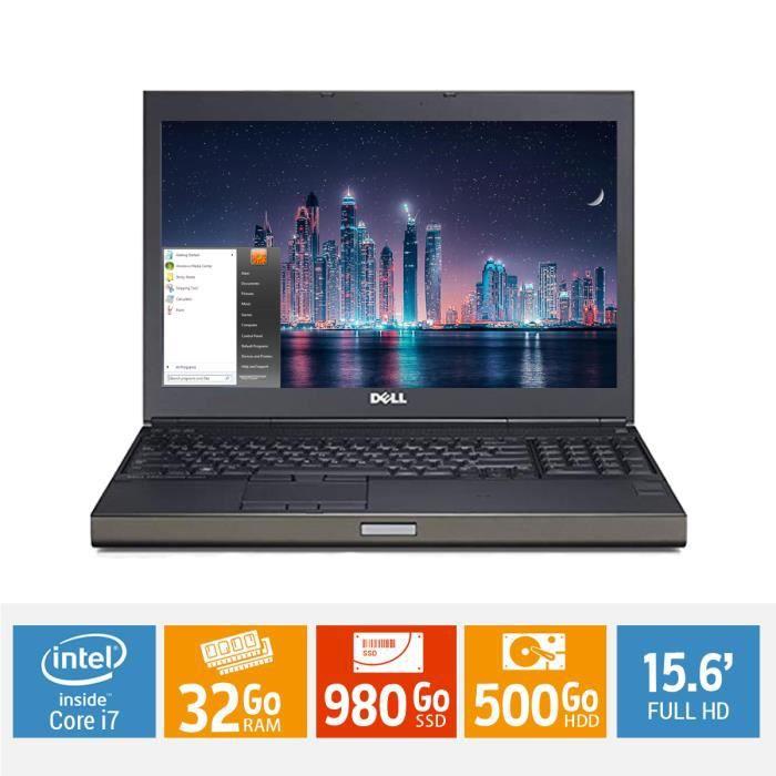 Ordinateur portable 15 POUCES DELL PRÉCISION M4800 core i7 32Go ram 980Go SSD + 500 Go HDD disque dur FULL HD