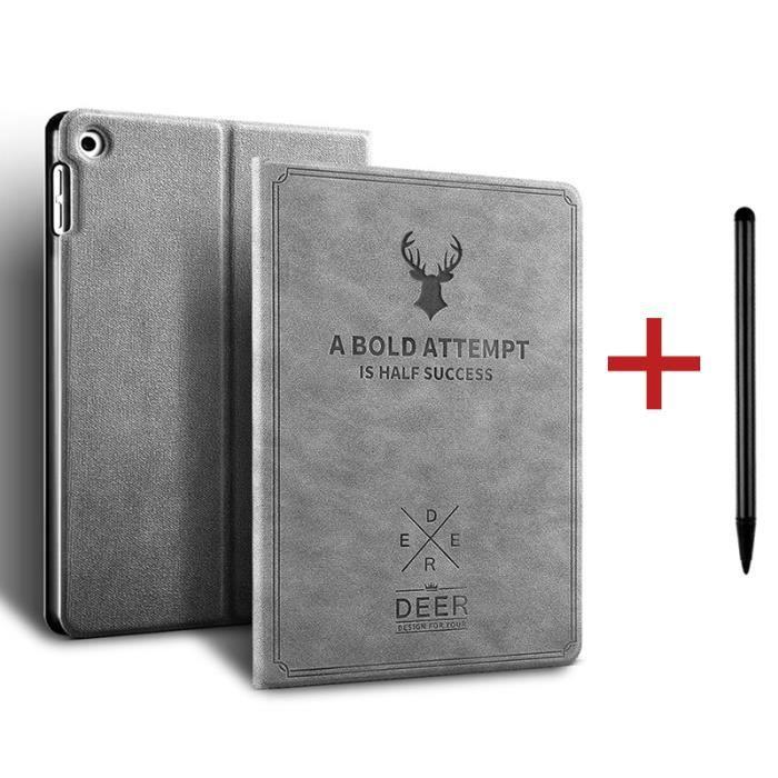 Coque iPad 8 10.2- 2020 [ +Stylet ] Cerf Réveil/Sommeil Automatique Case Housse Protection Étui iPad 8 10.2- 2020 -Gris
