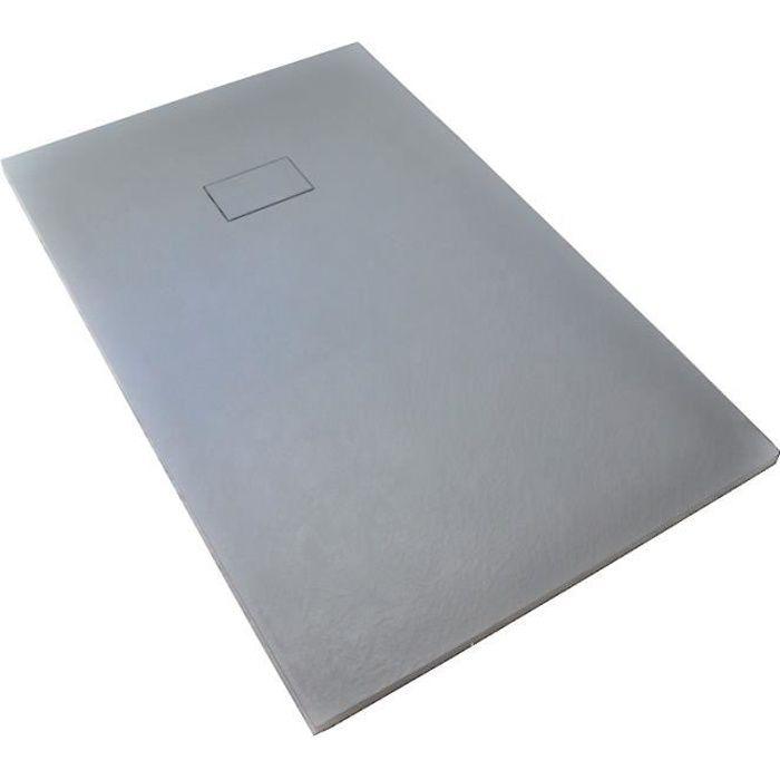 Receveur de douche extra plat PIATTO en SoliCast® 80x120 surface ardoisée, gris Gris