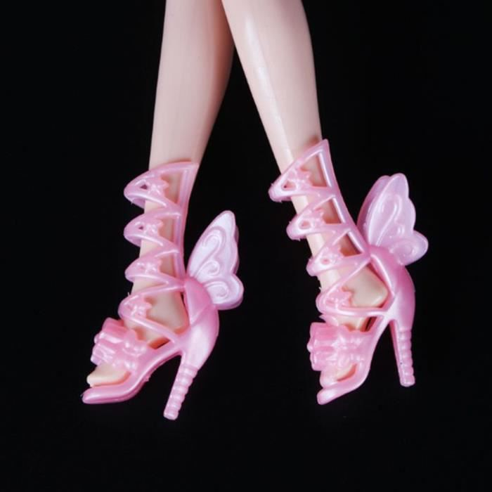 200pcs Chaussures à Talons Hauts pour Monster High Doll Accessoires de Vêtements Rose