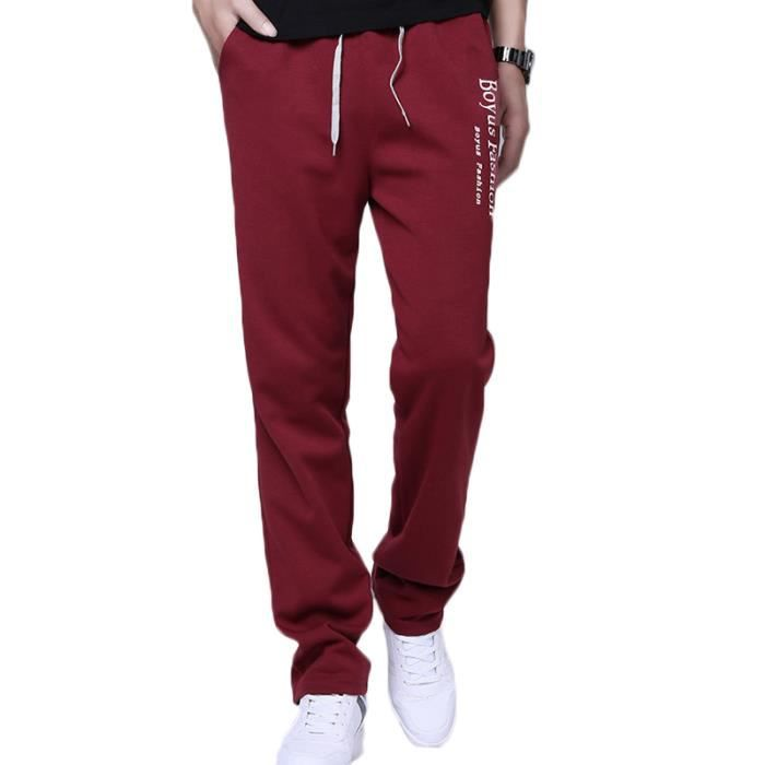 Pantalon de jogging Homme sport musculation coton Pantalon Homme imprimé baggy - Gris