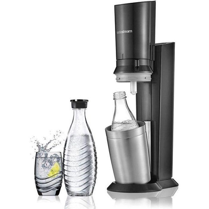 sodastream Pack Spécial Machine Crystal en Alu brossé Gris/Noir + 2 Carafes en Verre de 0.6L réutilisables à l`infini pour