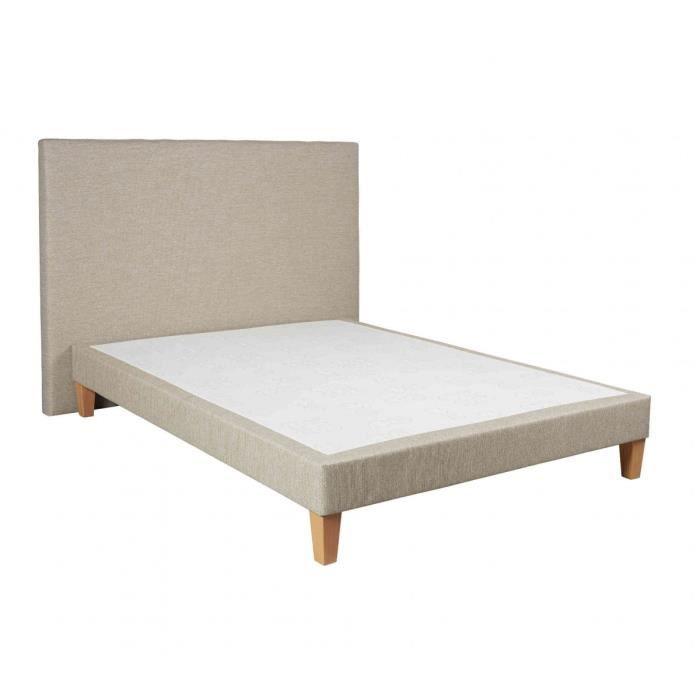 Ensemble sommier déco 140x190 tête de lit sable chiné 160 Someo