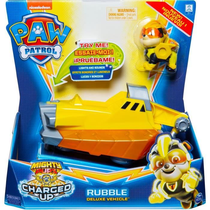 Paw Patrol Véhicule + Figurine Mighty Pups Charged Up - La Pat' Patrouille - Rubble