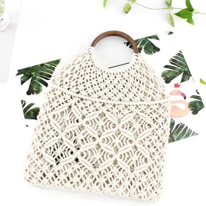 White brown handle -sac à main en corde de coton,sac en paille creuse,fourre tout en macramé transparent,anneau en bois,poignée