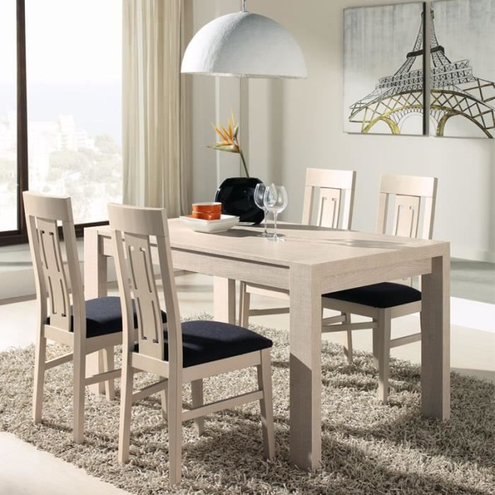 Ensemble table allonges chaises d cor ch ne clair for Chaises table a manger